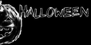 Jack-o-lantern pumpkin head chalk charcoal pencil illustration Royalty Free Stock Images