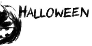 Jack-o-lantern pumpkin head chalk charcoal pencil illustration Stock Photos