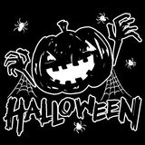 Jack-o-lantern pumpkin head with spider, cobweb. And halloween text black and white color stock illustration
