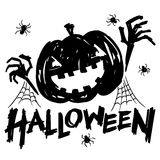 Jack-o-lantern pumpkin head with spider, cobweb. And halloween text black and white color vector illustration