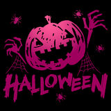 Jack-o-lantern pumpkin head with spider, cobweb. And halloween text, gradient purple and pink color on black background vector illustration