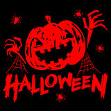Jack-o-lantern pumpkin head with spider, cobweb. And halloween text red color on black background vector illustration