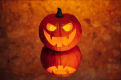 Jack-o-lantern pumpkin orange light royalty free stock photo