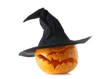 Jack-o-lantern pumpkin. With witch hat on white background Royalty Free Stock Photos
