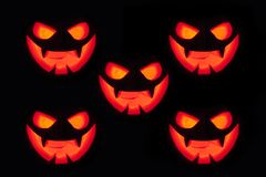 Jack-o-lantern pumpkins orange light stock photos