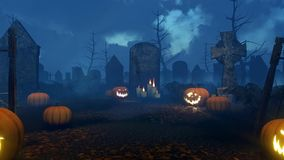 Jack-o-lantern pumpkins at spooky night cemetery 4K stock footage