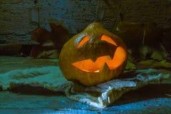 Jack-o-lantern on a rag Royalty Free Stock Images