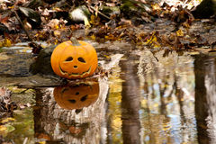 Jack-O-Lantern Reflection Stock Image