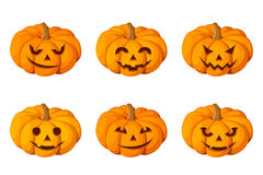 Jack-O-Lantern. Set of six Halloween pumpkins. Royalty Free Stock Photography