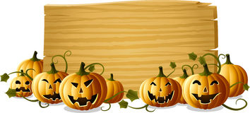 Jack-o-lantern with sign Royalty Free Stock Photography