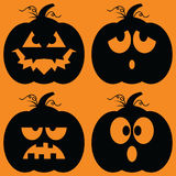 Jack-o-Lantern Silhouettes Royalty Free Stock Photo