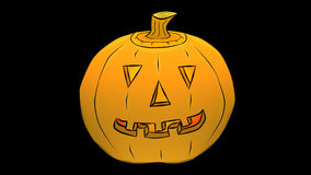 Jack O'Lantern Smiles-Transparent /Alpha-Cartoon stock video footage