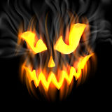 Jack-o-Lantern in Smoke. Halloween-terrible background with Jack-o-Lantern and smoke, and flames. EPS 10 contains transparency Stock Photo