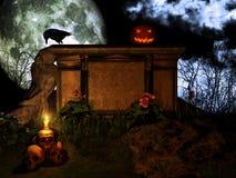 Jack o Lantern on the stone altar Stock Photography