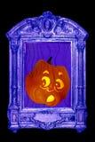 Jack o lantern takes fright. At warped funhouse mirror reflection Royalty Free Stock Photography