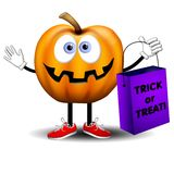 Jack O Lantern Trick or Treat. An illustration featuring a cartoonish jack-o-lantern holding a trick or treat bag vector illustration