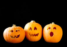 Jack-o-lantern Trio Stock Images