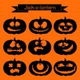 Jack-o'-lantern Un insieme di 9 elementi decorativi Fotografia Stock Libera da Diritti