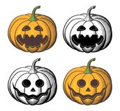Jack-o-lantern vector set. In retro-style. Pumpkins collection for Halloween royalty free illustration