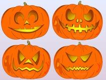 Jack-o'-lantern in vier versies, verschillende emoties, Halloween Royalty-vrije Stock Afbeeldingen