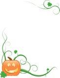 Jack-O-Lantern, Vines & Leaves Stock Photo