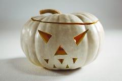 Jack o lantern on white background during autumn Stock Images