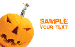 Jack-o-lantern on white with place for text Stock Photo