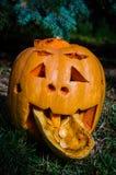 Jack-O-lanterna com língua Fotografia de Stock Royalty Free