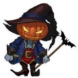 Jack-o-lanterna del carattere di Halloween in un cappello ed in un costume medievale di carnevale Immagini Stock