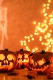 Jack-o-lanternas criativas de Dia das Bruxas Fotografia de Stock Royalty Free