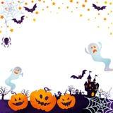 Jack-o-lanternas e fantasmas Fotos de Stock Royalty Free