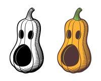 Jack-o-lanterne Courge de Butternut découpée pour Halloween illustration stock