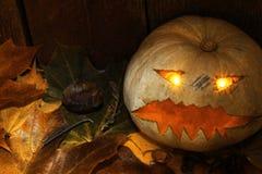 Jack-o-lanterne de Halloween avec des feuilles d'automne à côté d'un fond en bois images stock