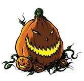 Jack-o-lanterne effrayante de Halloween avec des potirons de bébé Photo libre de droits
