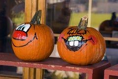 Jack 'o' Lanterns. Twp painted Jack 'o' Lanterns Royalty Free Stock Image