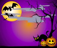 Jack O Lanterns Bats and Cats Royalty Free Stock Photos