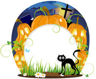 Jack o lanterns and black cat Stock Images
