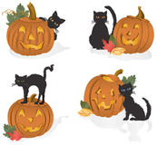 Jack-o'-lanterns and Black Cats. Vector art in Illustrator 8. Perfect Halloween combo. All objects are complete images and can be separated and/or rearranged Stock Photo