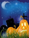 Jack o lanterns on a cemetery Stock Photo
