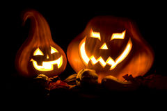 Jack-o-Lanterns in the dark Stock Photo