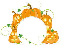 Jack o lanterns with different facial expressions Royalty Free Stock Images