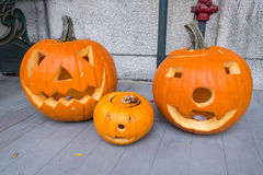 Jack o-lanterns by the door Royalty Free Stock Image
