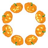 Jack-o-Lanterns frame on white background Royalty Free Stock Photos