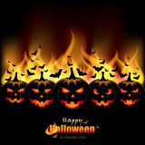 Jack O'Lanterns in front of Flames. Vector illustration of an abstract spooky Halloween design with five Jack O'Lanterns in front of Flames Stock Photography