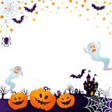 Jack-o-lanterns and ghosts. Halloween background image by watercolor paint touch royalty free illustration