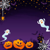 Jack-o-lanterns and ghosts. Halloween background image by watercolor paint touch vector illustration