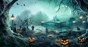 Jack O` Lanterns In Graveyard In The Spooky Night