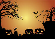 Jack O Lanterns & Halloween Background Royalty Free Stock Photos