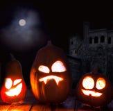 Jack o lanterns Halloween pumpkin face Stock Image