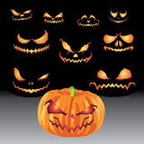 Jack O Lanterns & Halloween Sets Royalty Free Stock Photo